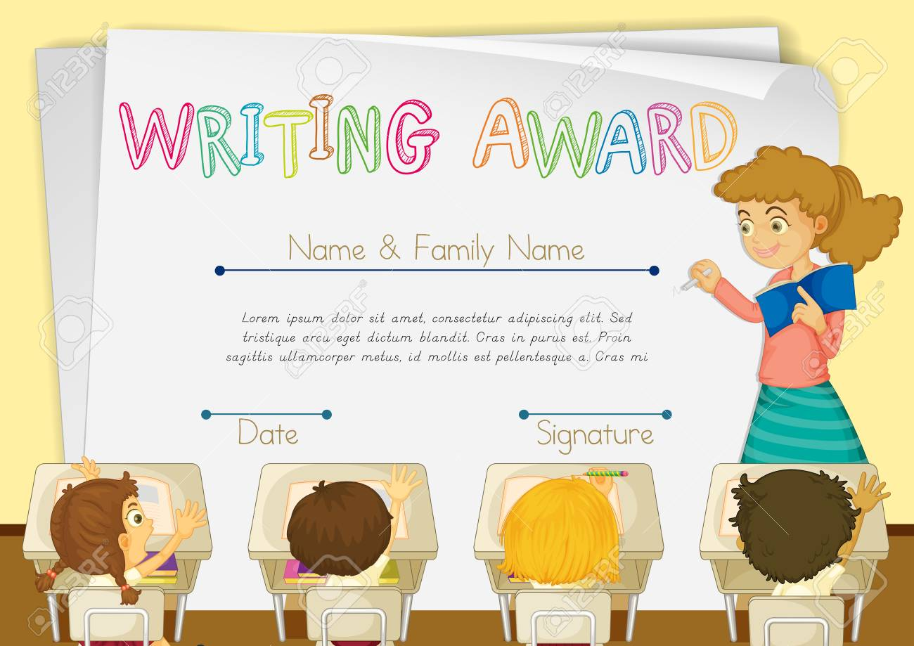 Certificate template for writing award illustration royalty free certificate template for writing award illustration stock vector 73056442 yadclub Gallery