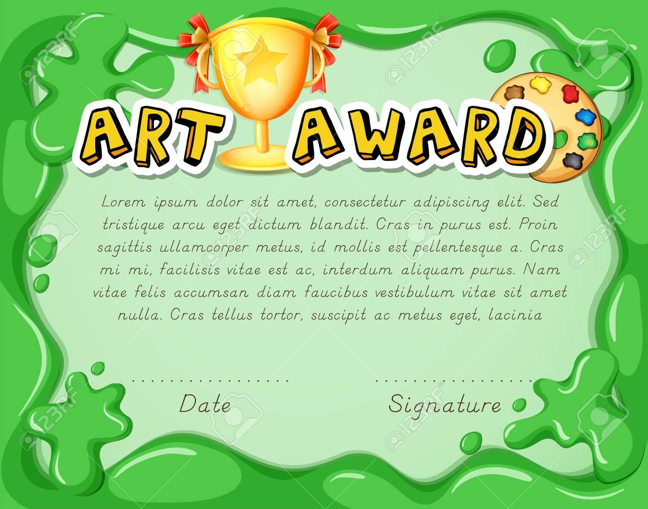 Zertifikatvorlage Mit Trophäe Auf Grüner Hintergrundillustration ...