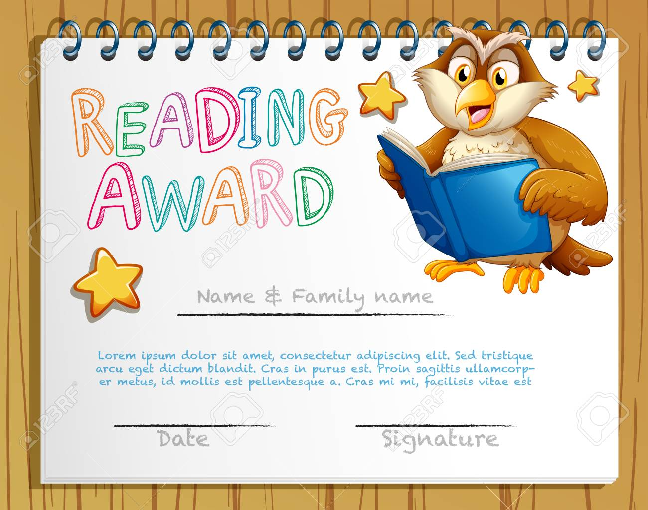 Certificate template with owl reading book illustration royalty free certificate template with owl reading book illustration stock vector 73056624 yadclub Choice Image