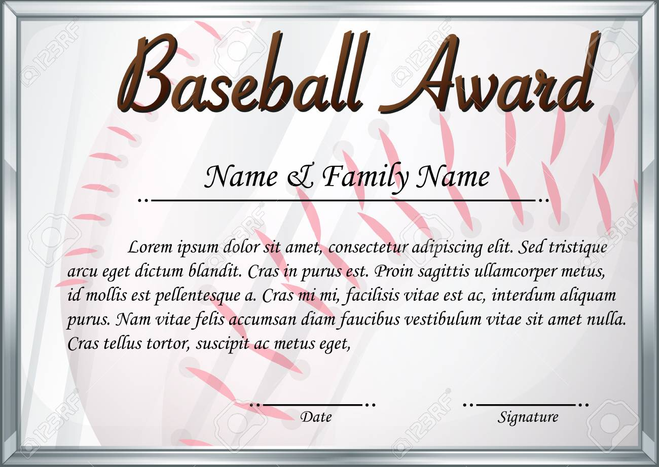 Certificate template for baseball award illustration royalty free certificate template for baseball award illustration stock vector 73056634 yadclub Choice Image