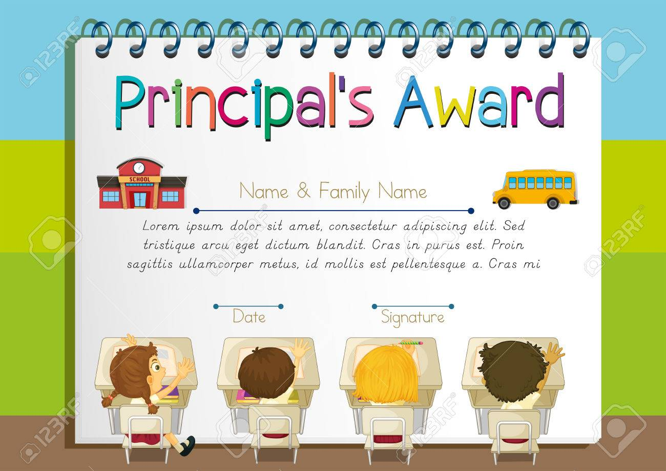 Certificate Template For Principal\'s Award Illustration Royalty Free ...