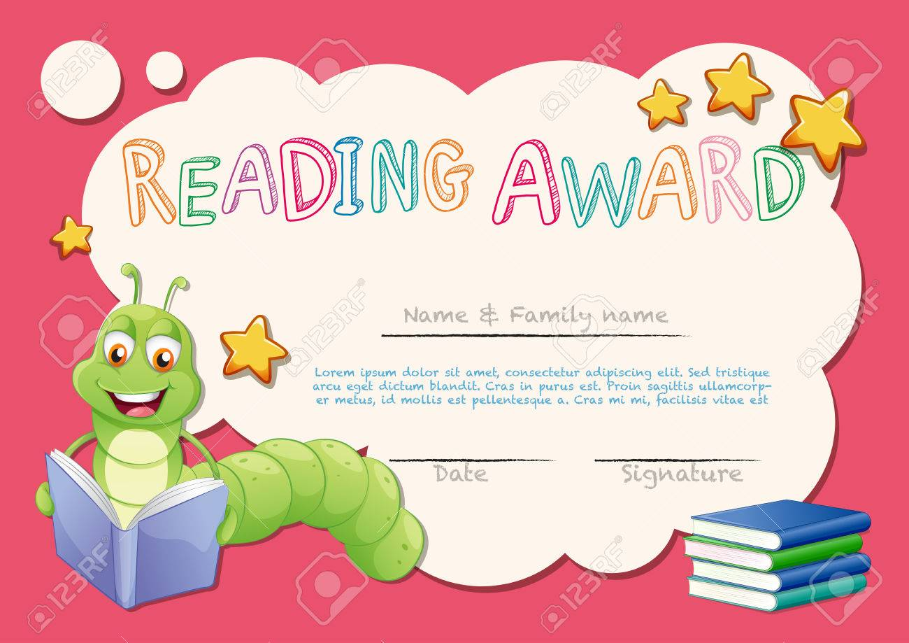 Certificate template for reading award illustration royalty free certificate template for reading award illustration stock vector 73056976 alramifo Images