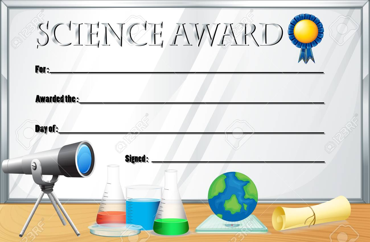 Certificate template for science award illustration royalty free certificate template for science award illustration stock vector 73056980 yelopaper Image collections