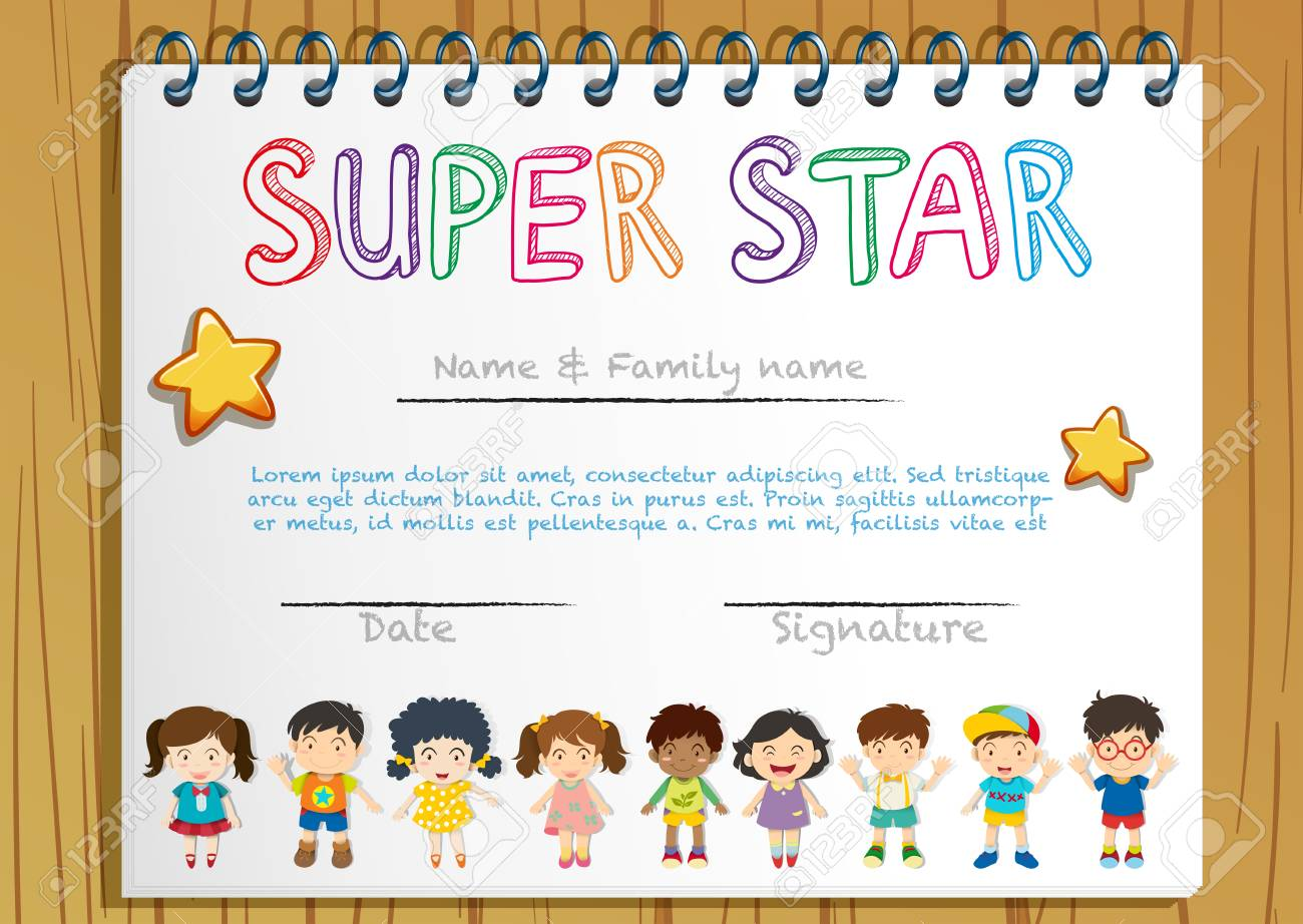 Certificate Template For Super Star Illustration Royalty Free Within Star Award Certificate Template