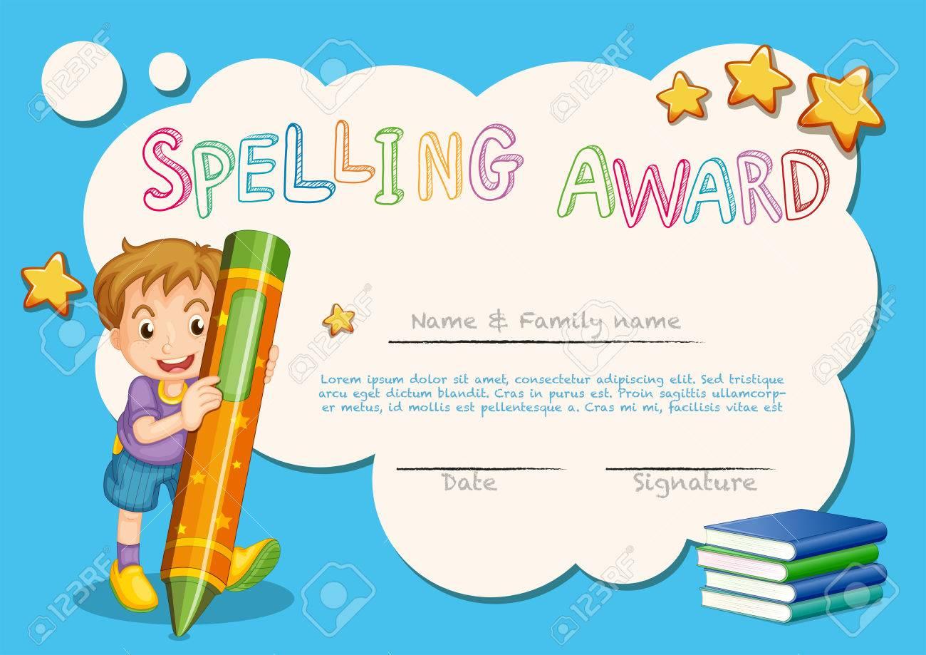 Plantilla De Premio De Ortografía Con Niños Y Libro En La ...