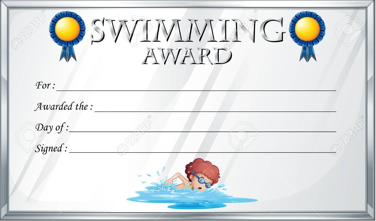 Zertifikat Vorlage Für Schwimmen Auszeichnung Illustration ...