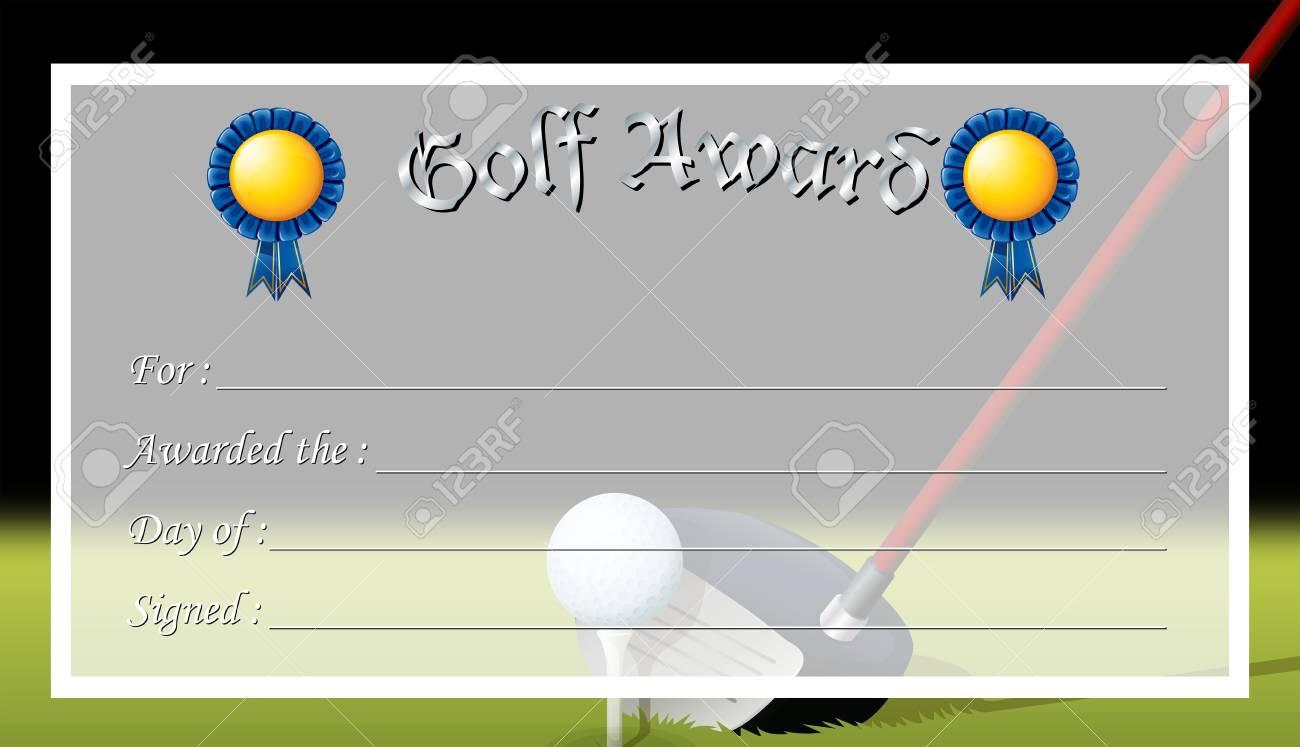 Zertifikat Vorlage Für Golf Award Illustration Lizenzfrei Nutzbare ...