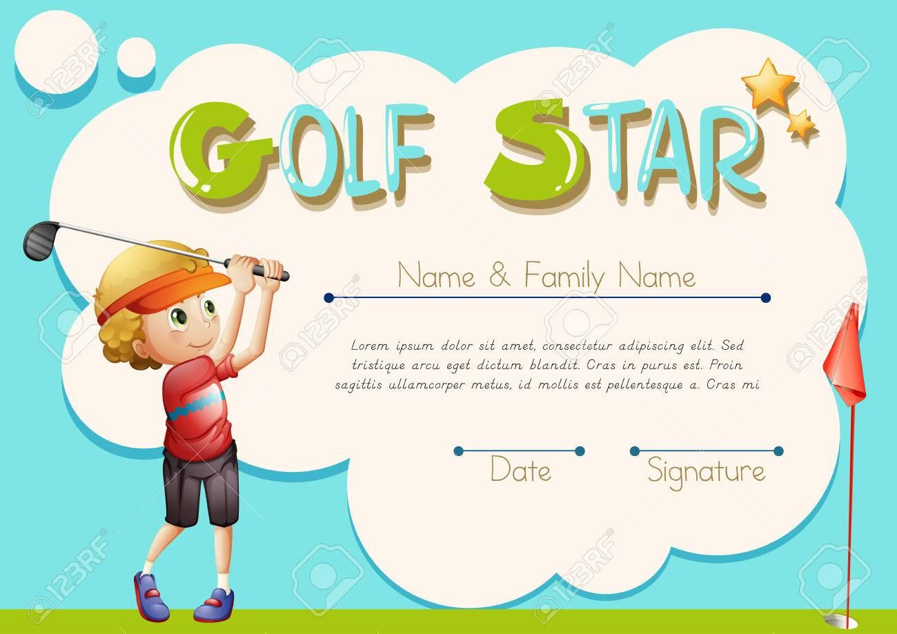Plantilla De Certificado Para La Ilustración De Estrella De Golf ...