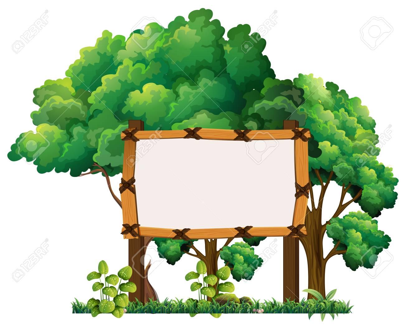 森イラストの木製看板のイラスト素材ベクタ Image 74028266