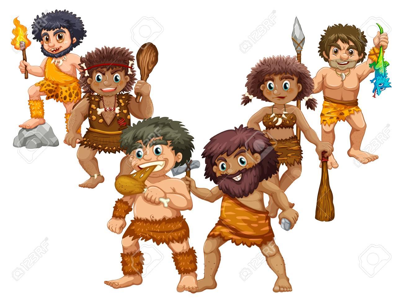Cavemen in different positions illustration - 74028561