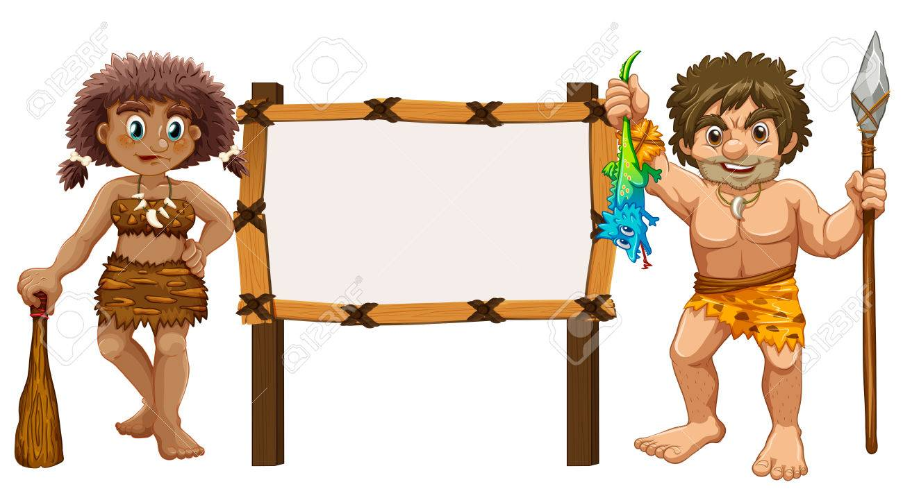 Border template with two cavemen illustration - 74028641