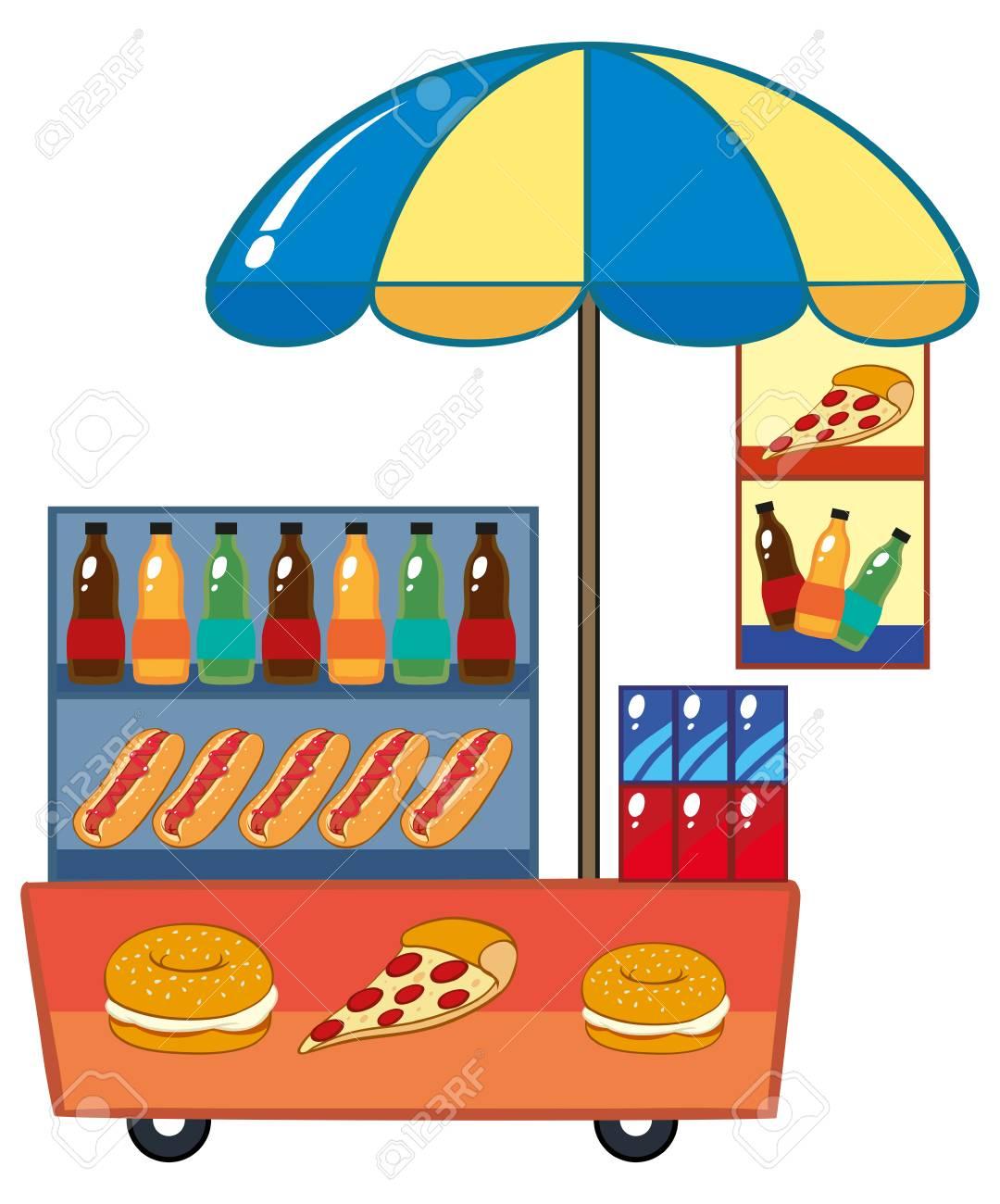 ホットドッグとドリンク イラスト食品ベンダー ロイヤリティフリー