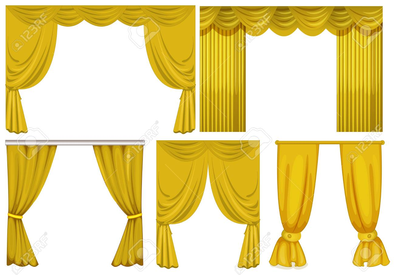 Yellow Curtains On White Background Illustration Royalty Free
