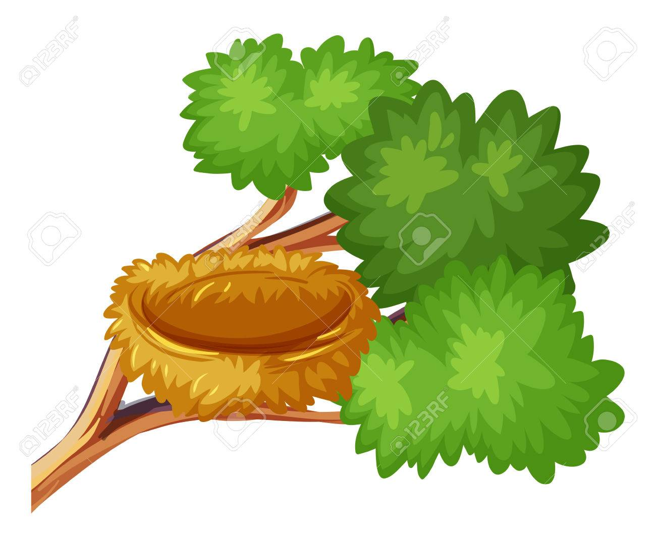 Bird Nest On The Branch Illustration Royalty Free Cliparts Vectors