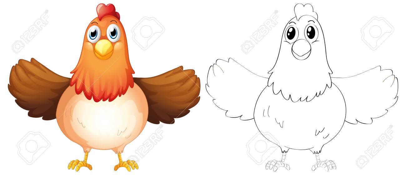 Contorno De Animales Para La Ilustración De Madre Gallina ...