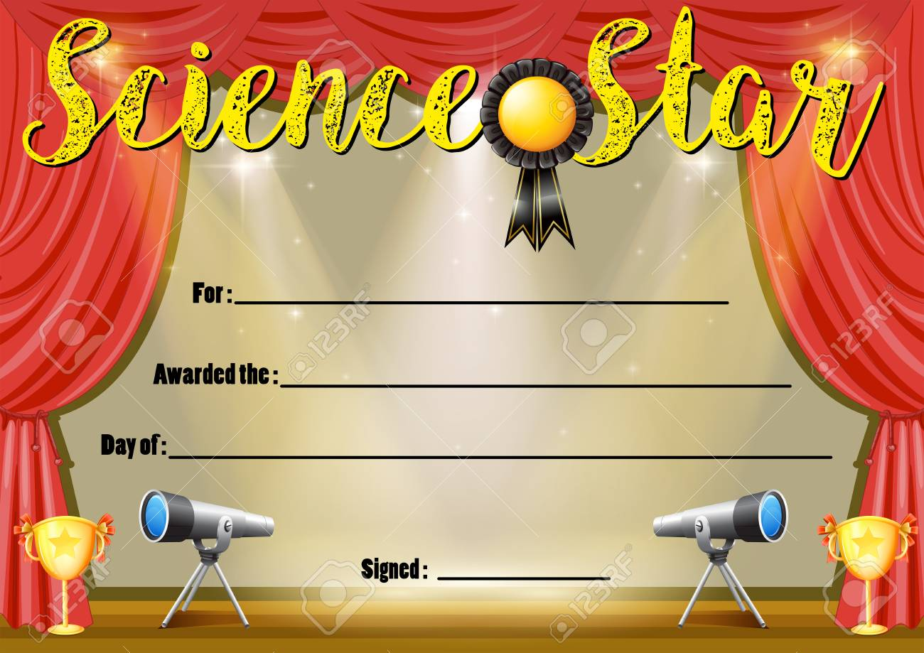 Certificate Template For Science Star Illustration Royalty Free