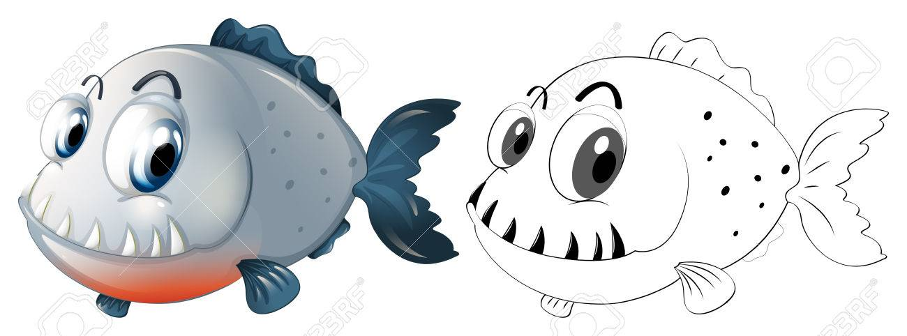 Redacción De Animales Para Pirañas Ilustración De Peces ...