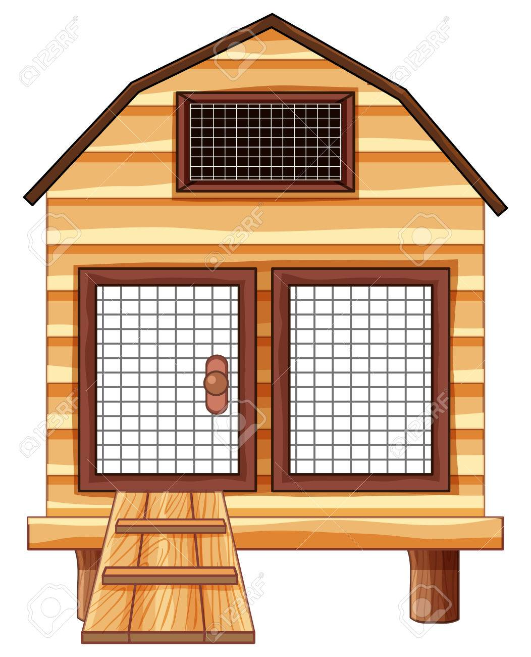 Chicken Coop Made Of Wood Illustration Stock Vector