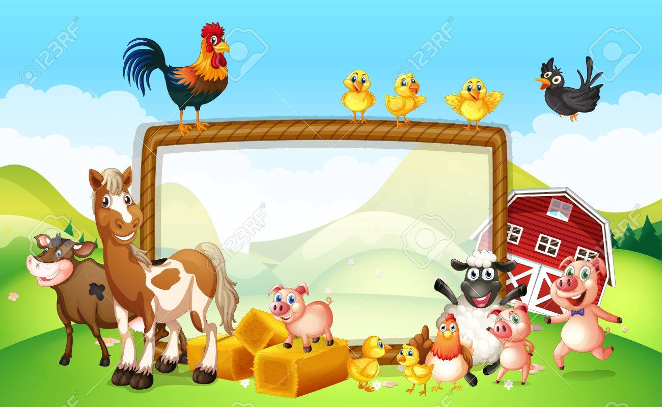 Diseño De Marco Con La Ilustración De Animales De Granja ...