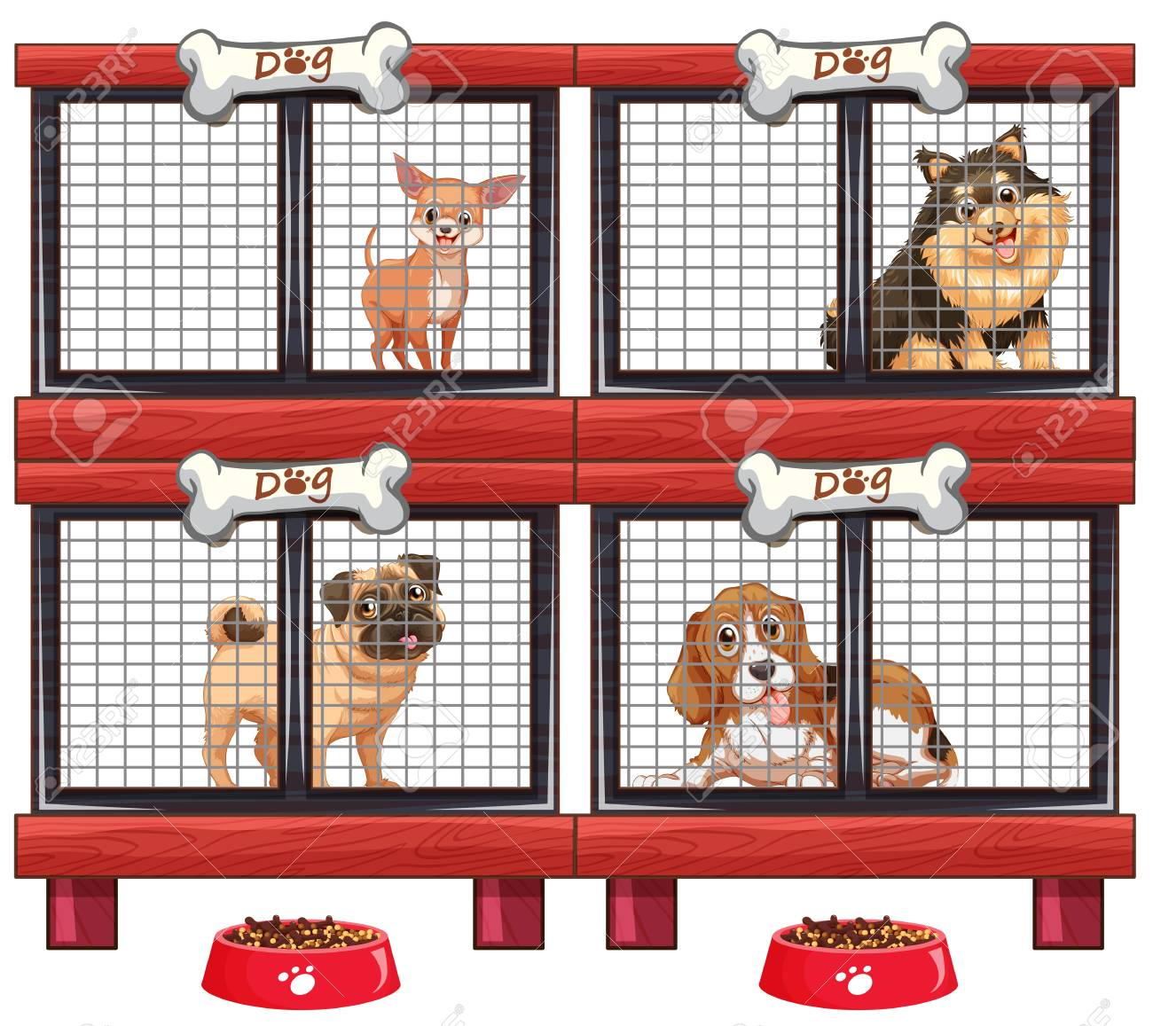 Four Types Of Dogs In Cage Illustration Royalty Free Cliparts Vectors And Stock Illustration Image 76078859