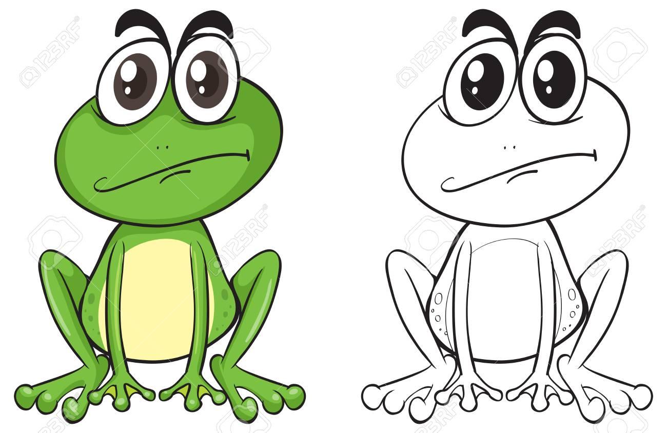 かわいいカエルのイラストの動物の概要のイラスト素材ベクタ Image