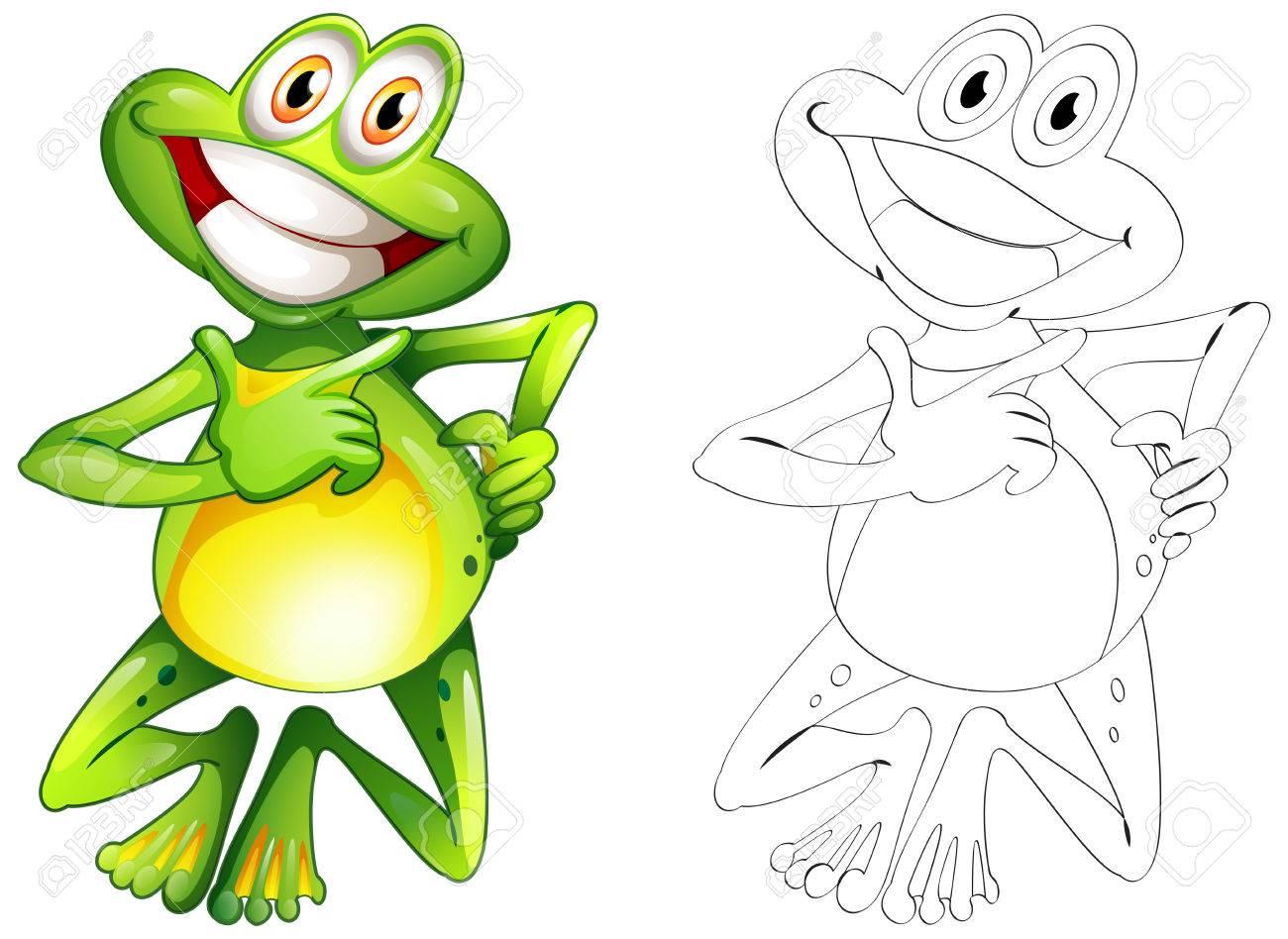 Doodle De Animales Para La Ilustración De La Rana Feliz ...