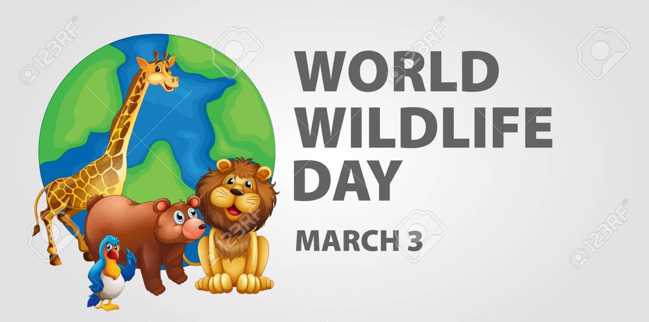 世界の野生動物の日イラストのポスター デザイン ロイヤリティフリー