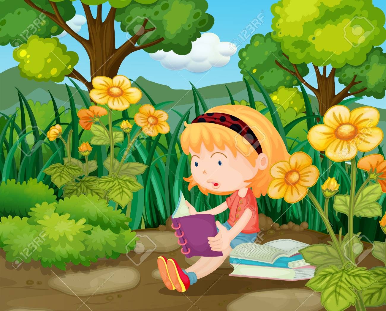 little girl reading books in flower garden illustration royalty free cliparts vectors and stock illustration image 79988595 little girl reading books in flower garden illustration