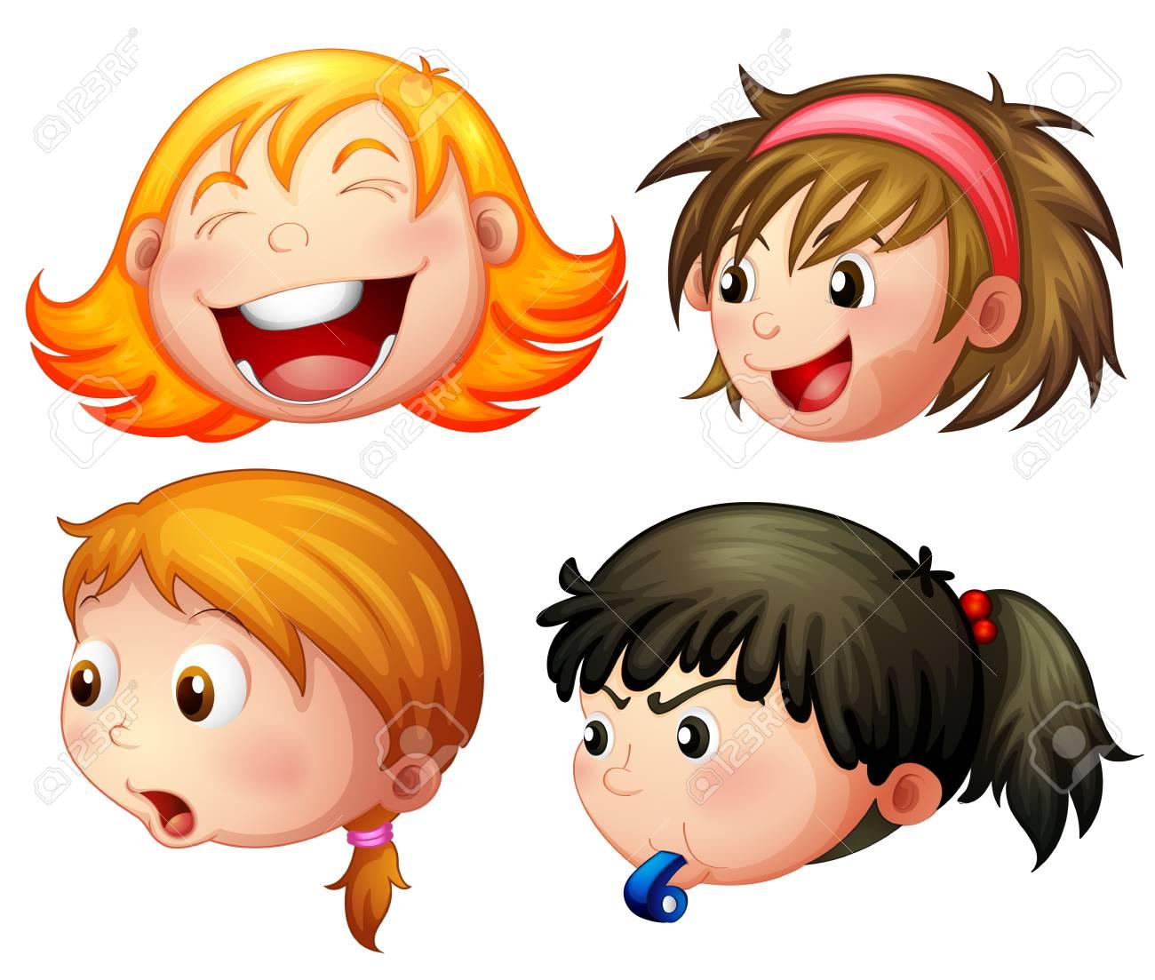 さまざまな感情のイラストが 4 人の女の子のイラスト素材ベクタ