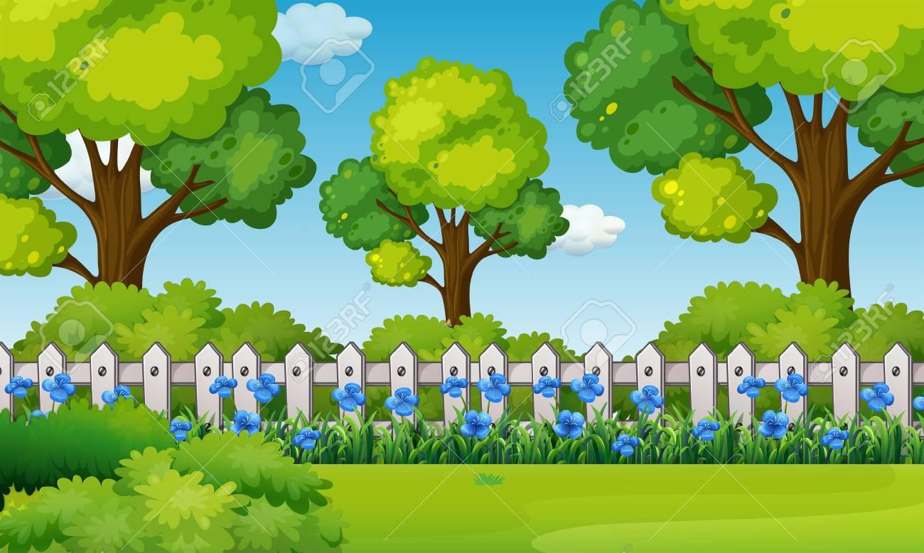 Scene with blue flowers in garden illustration - 79988718