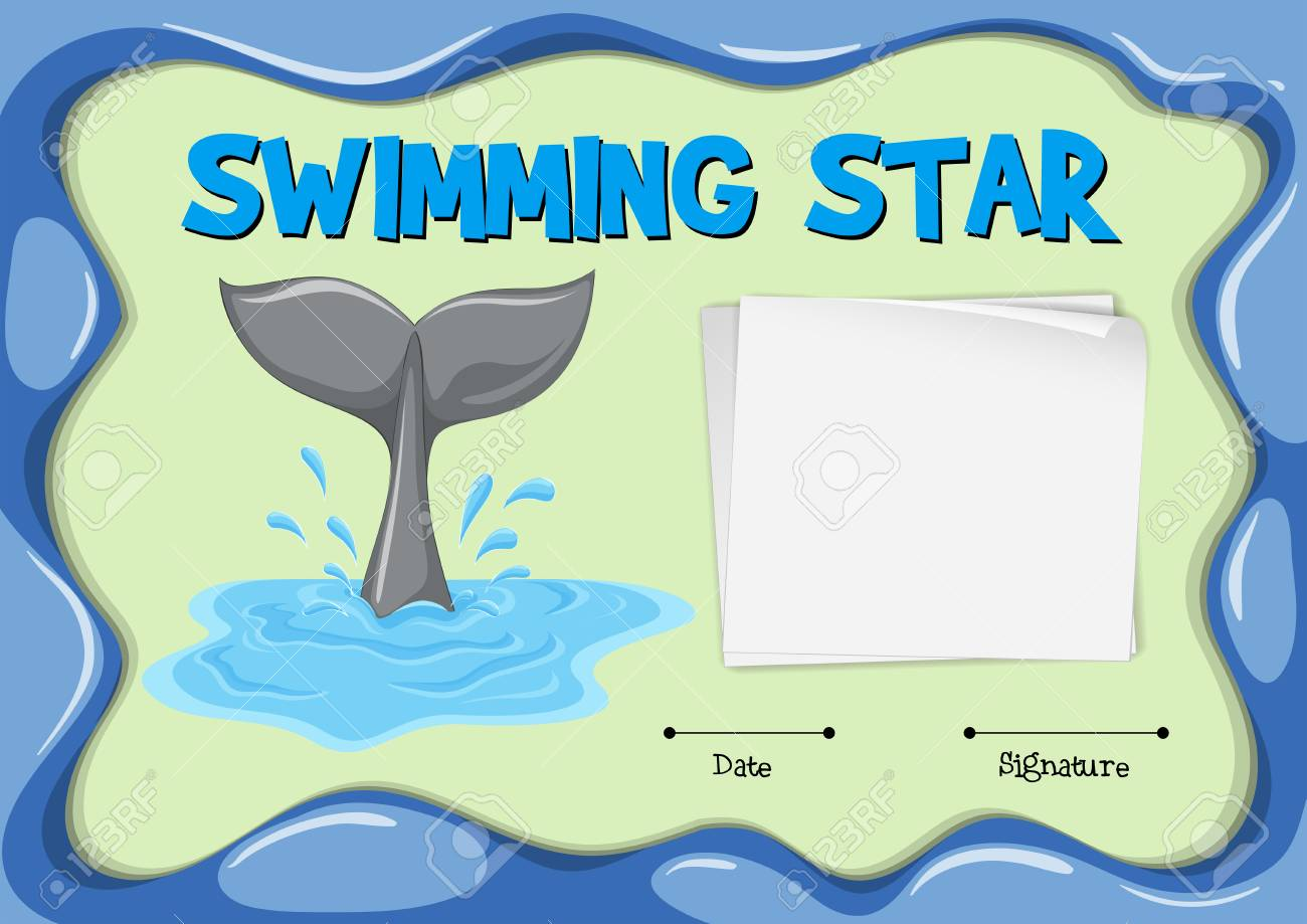 Swimming Star Certificate With Dolphin Tail Illustration Royalty
