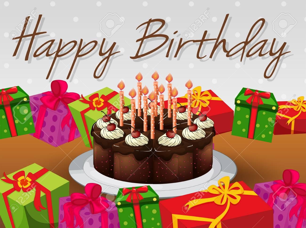 Happy Birthday Card Vorlage Mit Kuchen Und Prasentiert Illustration