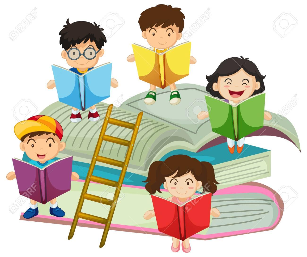Beaucoup D Enfants A Lire Des Livres Illustration