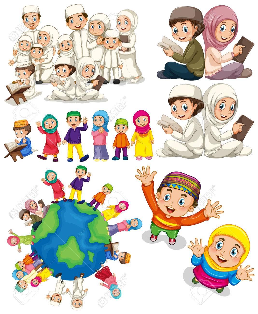 Muslim Families Around The World Illustration Royalty Free ...