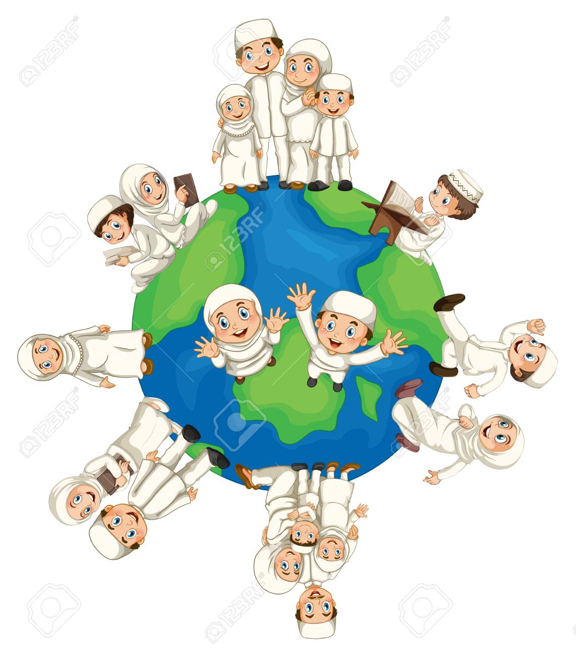 Muslim People Around The World Illustration Royalty Free Cliparts ...