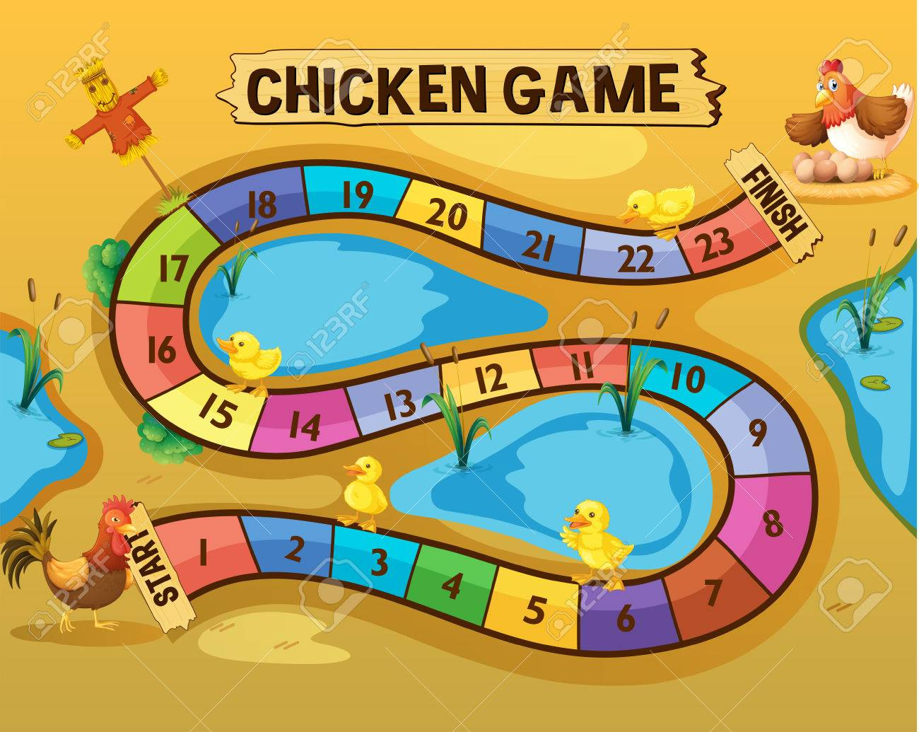 boardgame template with chickens by the pond illustration royalty
