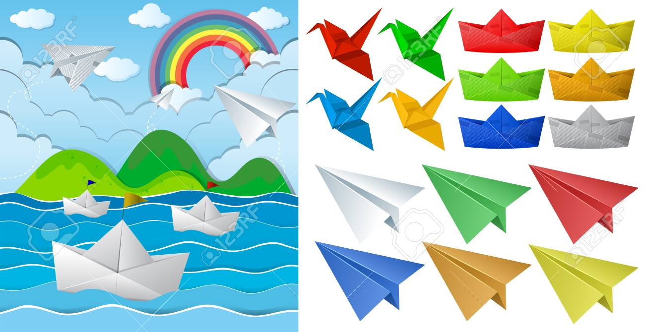 Ocean scne and paper origami in different objects illustration - 82339456