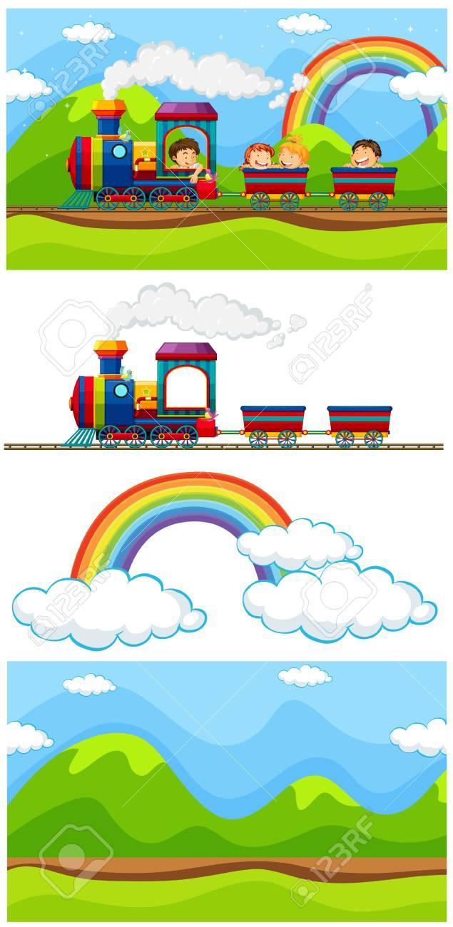 Scene Met Kinderen Op De Trein Illustratie Royalty Vrije Cliparts