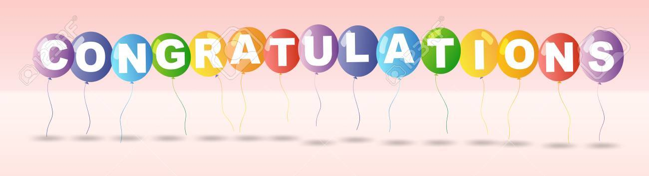 Congratulations Card Template With Colorful Balloons Illustration ...