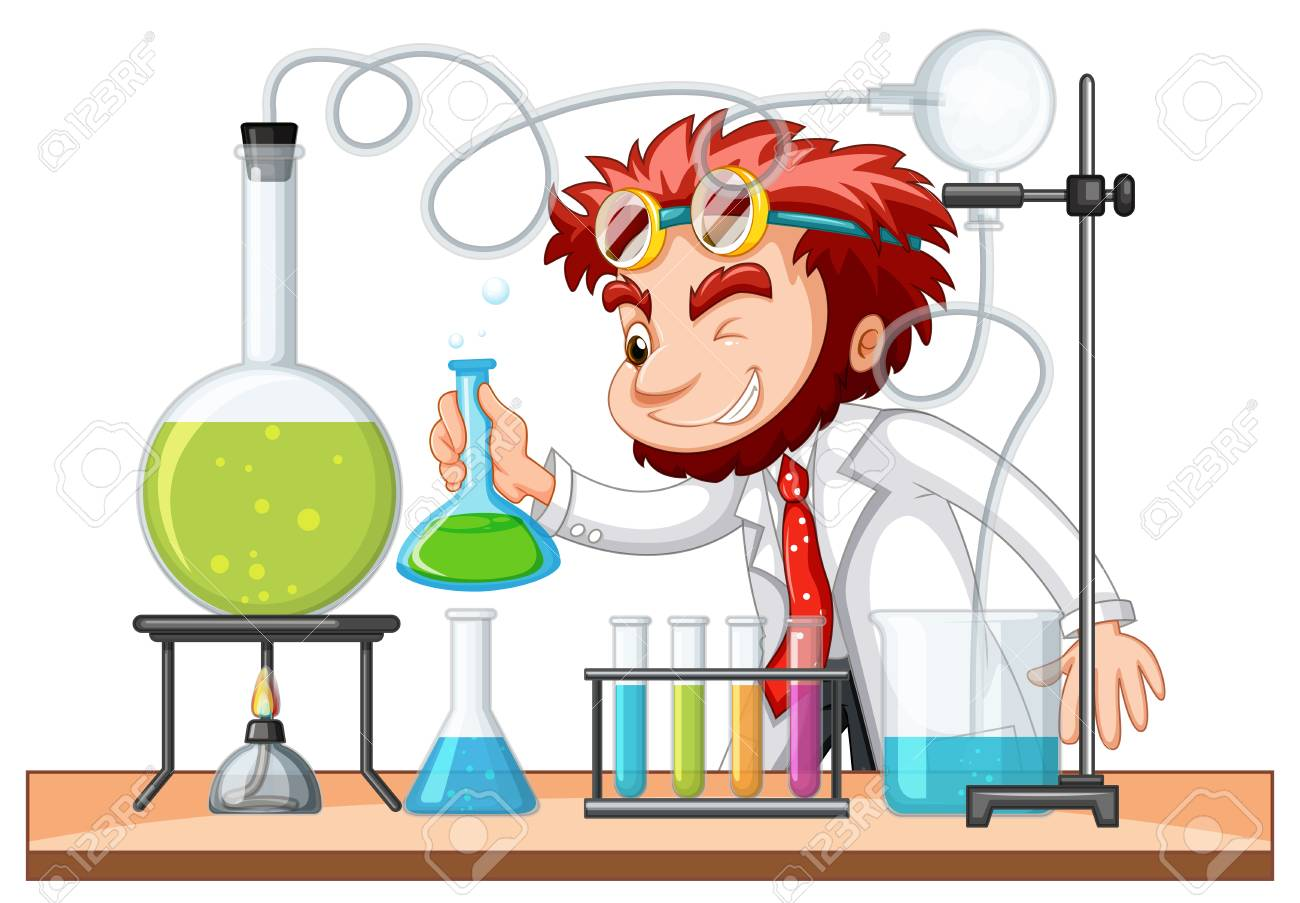 Mad scientist mixes chemical in lab illustration - 84581235