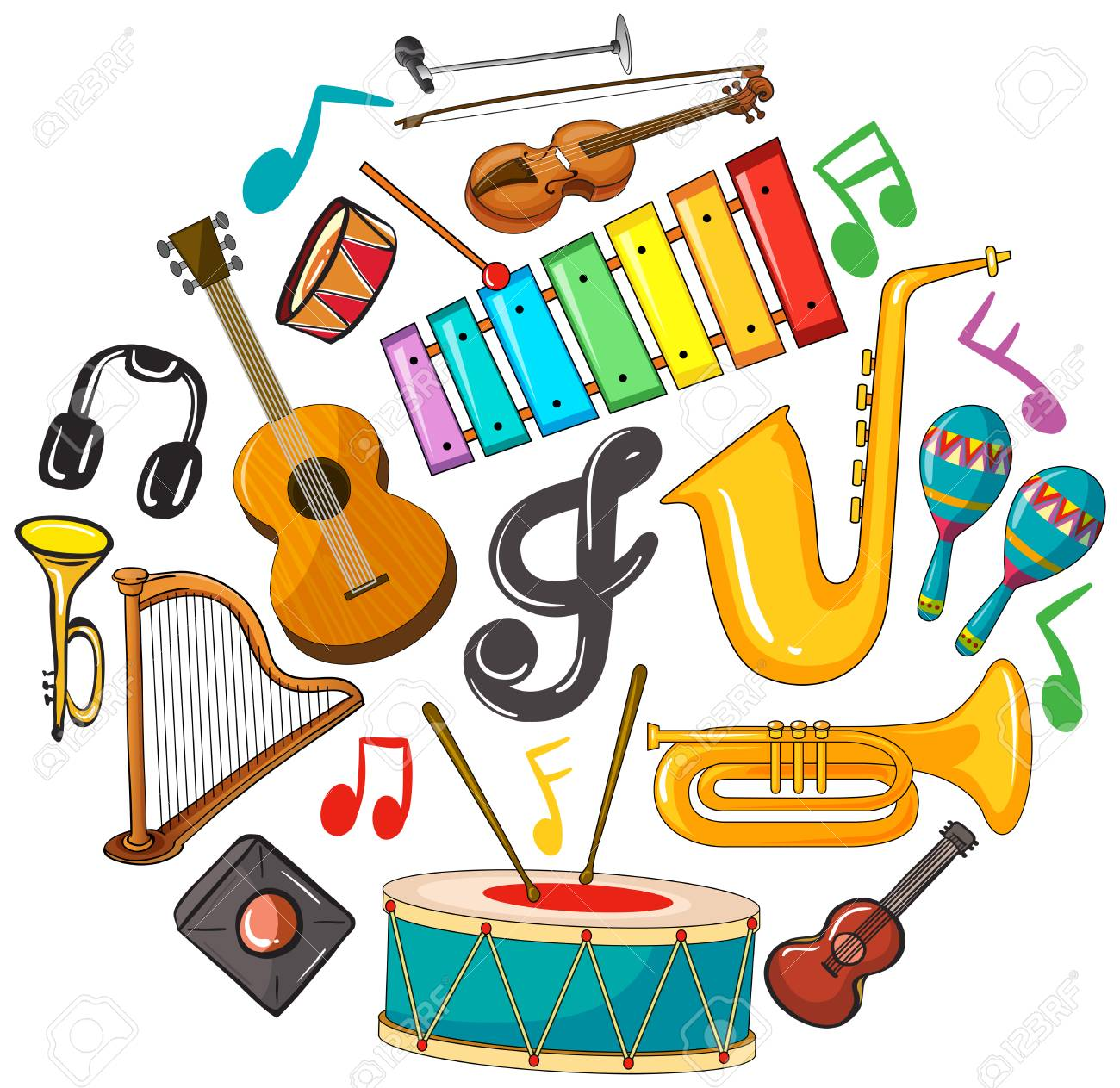 Different Types Of Musical Instruments Illustration Royalty Free Cliparts Vectors And Stock Illustration Image 84578637