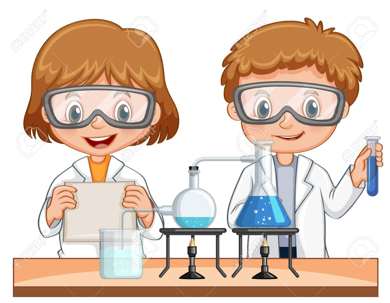 boy and girl do science experiment together illustration royalty rh 123rf com science experiment clipart free science experiment clipart free
