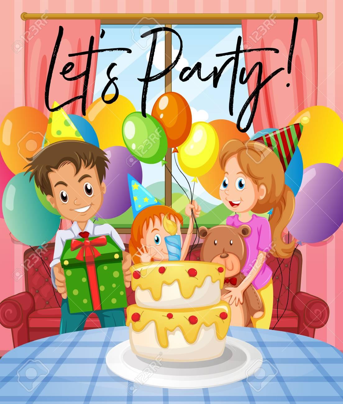 家族イラスト誕生日パーティーのシーンのイラスト素材ベクタ Image