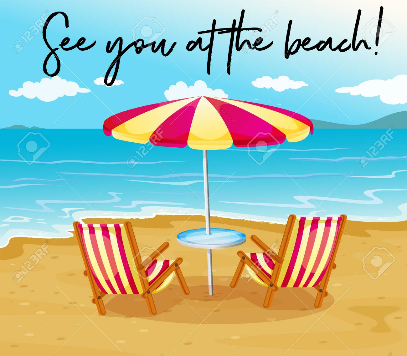 Escena De La Playa Con La Frase Mira En La Playa Ilustración