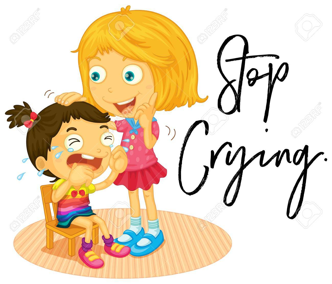 big sister and little girl crying illustration royalty free cliparts rh 123rf com