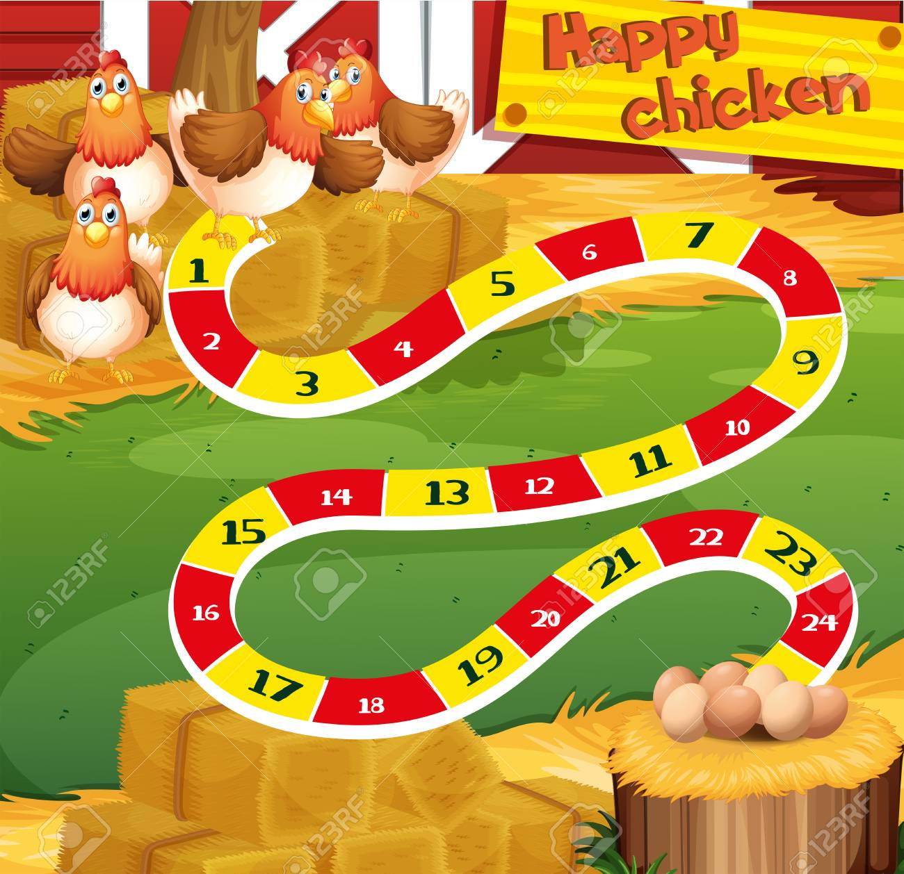 boardgame template with chicken in the farm illustration royalty