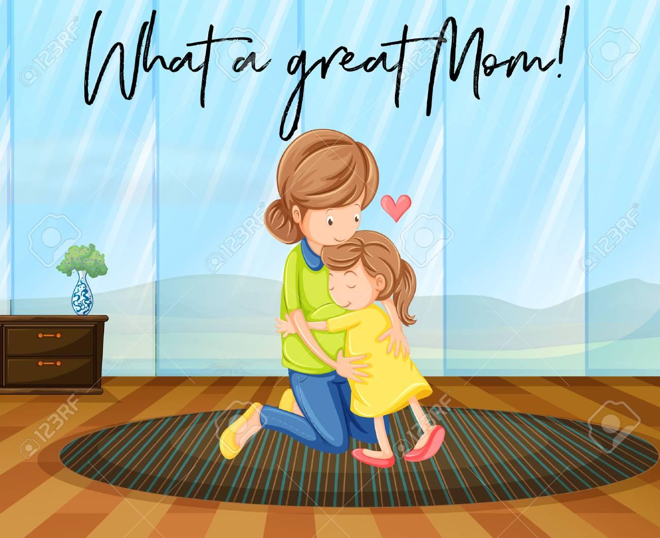 Madre E Hija Abrazándose Con Frase Qué Gran Ilustración De Mamá