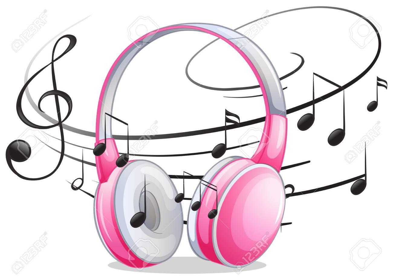Auriculares Rosa Con Notas Musicales En La Ilustración De Fondo