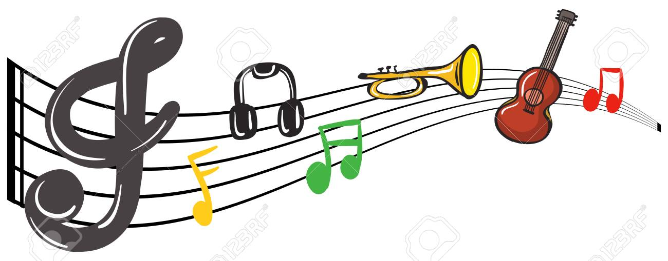 Musical Instruments With Music Notes In Background Illustration Royalty Free Cliparts Vectors And Stock Illustration Image 85189744