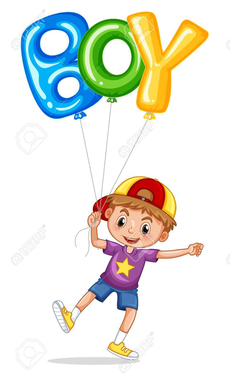 Little Boy With Balloon For Word Boy Illustration Royalty Free